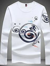 Herren Druck Einfach Lässig/Alltäglich T-shirt,Rundhalsausschnitt Frühling Herbst Langarm Weiß Schwarz Grau Kunstseide Mittel