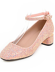Women's Heels Spring Summer Fall Other Glitter Casual Chunky Heel Sequin Black Pink White Silver Gold