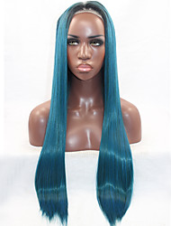 Long Straight Hair Heat Resistant Synthetic Lace Front Wig Blue Color Hair Black Root Synthetic Hair Fiber Wigs For Woman