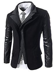 Masculino Terno Casual Simples Outono Inverno,Sólido Cinza Algodão Colarinho Orifício Manga Longa