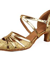 Women's Dance Shoes Leatherette Patent Leather Paillette Latin Sandals dance shoes Cuban Heel gold silver Customizable