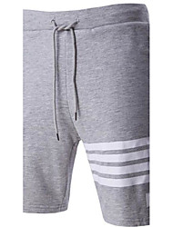 Men's Mid Rise Micro-elastic Active Shorts Sweatpants Pants,Simple Active Straight Striped