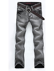 Men's Mid Rise Micro-elastic Jeans Pants,Street chic Straight Pleated Solid