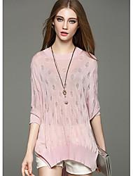 Damen Standard Pullover-Ausgehen Lässig/Alltäglich Einfach Solide Rosa Weiß Grau Rundhalsausschnitt Ärmellos Leinen Frühling Dünn