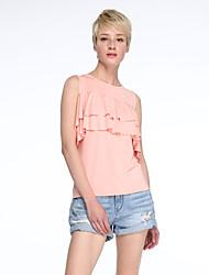 Damen Solide Street Schick Lässig/Alltäglich T-shirt,Schulterfrei Sommer Kurzarm Rosa Baumwolle / Leinen Mittel