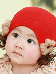 Girl's Knitting Cute Winter Going out/Casual/Daily Keep Warm Solid Color Flower Headgear Hat Children Cap