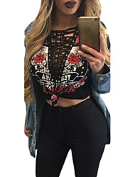 Women's Printed Lace Up V Neck Long Sleeve Shirt