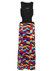 Women's Going out / Casual/Daily Simple Loose Dress,Geometric Round Neck Midi Sleeveless Multi-color Cotton Summer Low Rise Micro-elastic