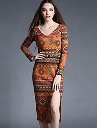 Women's Formal Vintage Bodycon Sheath Dress,Print Round Neck Asymmetrical ¾ Sleeve Orange Cotton Polyester Spring Mid Rise Inelastic
