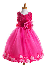 Princess Tea-length Flower Girl Dress - Tulle Polyester Sleeveless Jewel with Flower(s) Sash / Ribbon