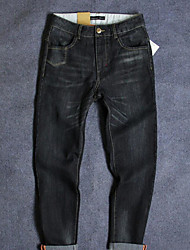 Men's Slim Jeans Pants,Casual/Daily Simple Solid Mid Rise Button Cotton Micro-elastic Fall Winter