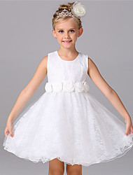 Ball Gown Knee-length Flower Girl Dress - Chiffon Cotton Lace Organza Satin Tulle Sleeveless Jewel with Bow(s) Draping Flower(s) Lace