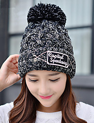 Fashion  New Wool Hat Cloth Standard English Pin Single - Cap Women 'S Outdoor Knit Hat Head Cap