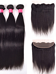 13x4 Indian Silk Straight Lace Frontal Closure With Bundles 8A Indian Virgin Hair With Lace Frontal Closure 10-30