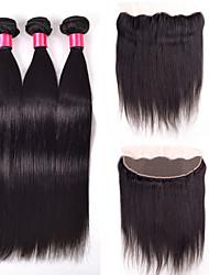 Cabelo Humano Ondulado Cabelo Indiano Retas 4 Peças tece cabelo