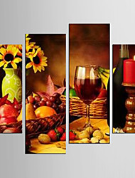 Canvas Set Leisure Food Modern Realism,Four Panels Canvas Any Shape Print Wall Decor For Home Decoration