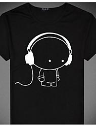 Herren Solide Druck Retro Street Schick Lässig/Alltäglich Strand T-shirt,U-Ausschnitt Frühling Sommer Kurzarm Weiß Schwarz Baumwolle Dünn
