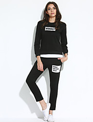 Women's Sports Active Fall T-shirt PantLetter Round Neck Long Sleeve Black / Gray Cotton Opaque