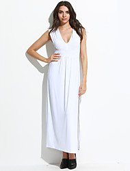 Women's  Club Sexy Sheath Split Dress,Solid Deep V Maxi Sleeveless White  All Seasons High Rise