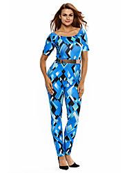 Women's Bluish Geometric Print Belted Off Shoulder Jumpsuit