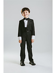 Cotton Polester/Cotton Blend Ring Bearer Suit - Five-piece Suit Pieces Includes  Jacket Shirt Pants Waist cummerbund Bow Tie