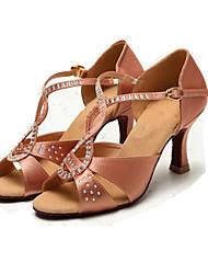 Women's Dance Shoes Satin Satin Latin Jazz Modern Sandals Stiletto Heel Practice Beginner Indoor Outdoor PerformanceBlack Customizable