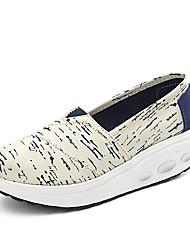 Feminino-Mocassins e Slip-Ons-Inovador Sapatos de Berço Solados com Luzes-Anabela-Bege Azul-Tecido-Escritório & Trabalho Casual Para