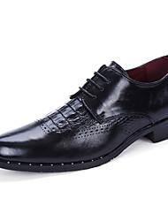 Черный Красный Серый-Мужской-Для прогулок Повседневный-Кожа-На плоской подошве-Туфли Мери-Джейн-Туфли на шнуровке