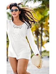 Tee-shirt Femme,Couleur Pleine Décontracté / Quotidien Sexy Manches Longues Col Arrondi Rouge Blanc Fibre de bambou Moyen
