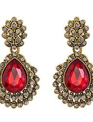 Feminino Brincos Compridos Rubi Cristal Jóias Para Casamento Festa Diário