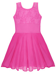 Ballet Dresses Children's Training Cotton Spandex Lace Criss-Cross 1 Piece Sleeveless Dress