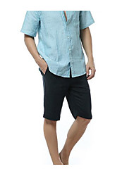 Men's Loose Chinos Pants,Casual/Daily Active Solid Mid Rise Button Linen Micro-elastic Summer