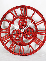 Modern Creative Red Sand Gear Mute Wall Clock