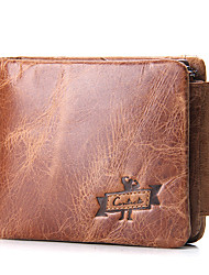 Casual Cowboy Crazy Horse Leather Short Trifold Wallet-Cowhide-Men