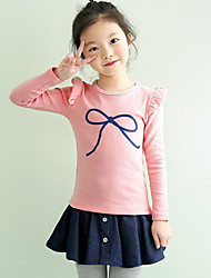 Girl's Cotton Fashion Solid Color Spring/Fall Going out/Casual/Daily Ruffle Long Sleeve T-shirt Kid Undershirt Blouse