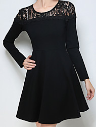 Women's Plus Size Going out Holiday Sexy Simple Cute Sheath Dress,Solid Lace Round Neck Above Knee Long Sleeve Cotton Polyester Nylon