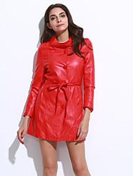 Feminino Jaquetas de Couro Casual / Tamanhos Grandes Moda de Rua Outono / Inverno,Sólido Vermelho / Preto / RoxoPoliéster / Pele de