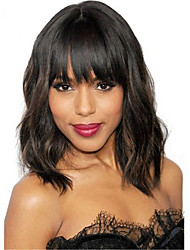 Natural Wavy Short Bob Wigs Virgin Brazilian 13x6 Lace Front Wigs With Bangs Glueless Full Lace Short Human Hair Wigs