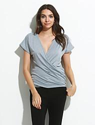 Damen Solide Sexy Ausgehen T-shirt,Tiefes V Sommer Kurzarm Weiß / Schwarz / Grau Polyester Dünn
