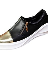 Men's Sneakers Spring Fall Comfort PU Casual Low Heel Zipper Black White Gold