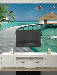 JAMMORY Large 3D Canvas Painting Fresco Living Room Bedroom Wallpaper Sofa TV Wallpaper Extension Space Resort Landscape Scenery XL XXL XXXL
