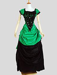 Accesorios Gosurori Victoriano Cosplay Vestido  de Lolita Verde Un Color Manga Corta Asimétrico Esmoquin Para Mujer Charmeuse