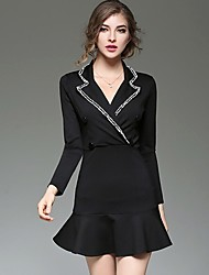 Women's Formal Work Sexy Sophisticated Trumpet/Mermaid Dress,Solid Shirt Collar Above Knee Long Sleeve Polyester Black Fall Mid Rise