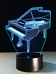 1PC  Piano Colorful Vision Stereo Led Lamp 3D Lamp Light Colorful Gradient Acrylic Lamp Night Light Vision