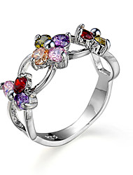 Hot Sale Fashion Classic Rings Colorful Zircon Platinum Plating Women Jewelry Engagement Wedding Rings