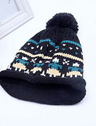 Winter New Color Striped Wool Cap Fashion Large Pompon Hand Knitted Hat