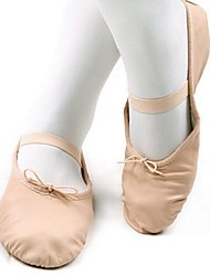 Customizable Kids' Dance Shoes Leather Leather Ballet Full Sole Flat Heel Indoor Nude