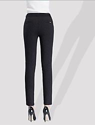 Feminino Skinny Chinos Calças-Poás Casual Simples Cintura Média Zíper Algodão Micro-Elástico Inverno