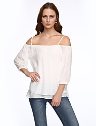 Women's Casual/Daily Street chic Spring / Fall Shirt,Solid Strap Long Sleeve White Linen Medium