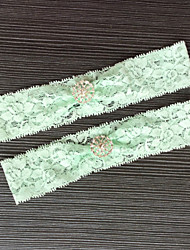 Garter Stretch Satin Lace Lace Rhinestone Green